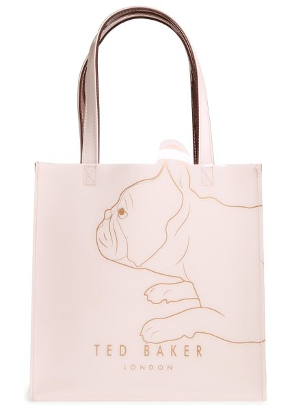 Ted Baker pupcon cotton's fairytale small icon tote in pale pink - A sketch of an adorable French bulldog in gleaming foil...