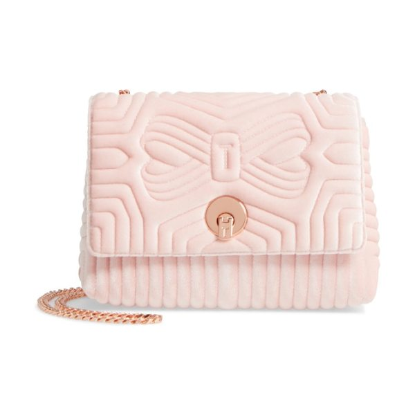 Ted Baker quilted velvet crossbody bag in dusky pink - Textured velvet adds lush vintage style to an impeccably...