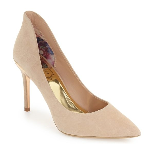 Ted Baker 'saviy' leather pump in camel suede - Rose goldtone accents at the heel add a touch of glam to...