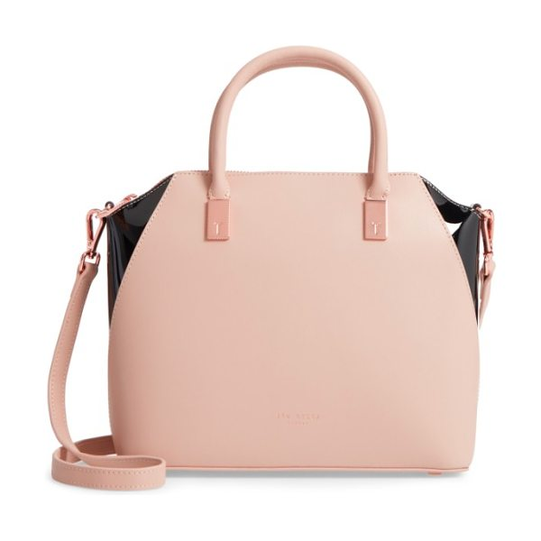 Ted Baker small ashlee leather tote bag in camel - Rolled handles top a slightly domed tote with signature...