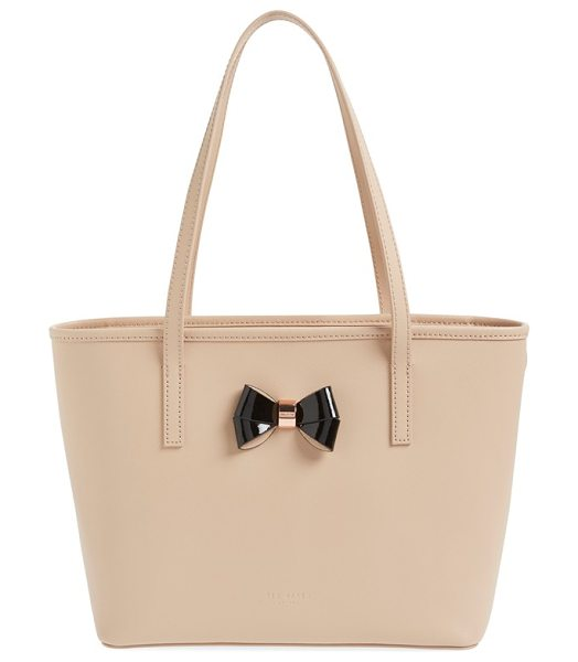Ted Baker Small logo bow leather shopper in taupe - A pert-and-polished bow with logo-etched rose-goldtone...