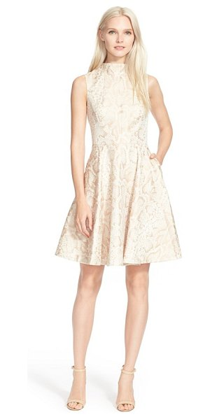 Ted Baker azraa snake jacquard fit & flare dress in beige - A softly lustrous, serpentine jacquard design...