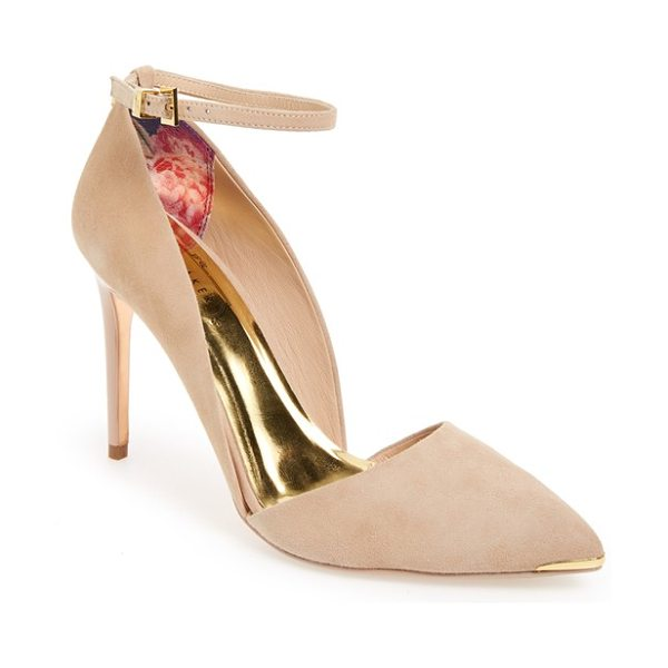 Ted Baker vleyi dorsay pointy toe pump in camel suede - A dramatic pointy toe accented in gleaming metal and a...