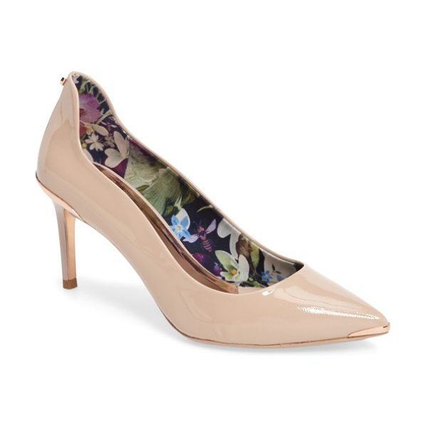 Ted Baker vyixin pump in nude patent leather - A slightly sinuous topline rises to a dramatic finish at...