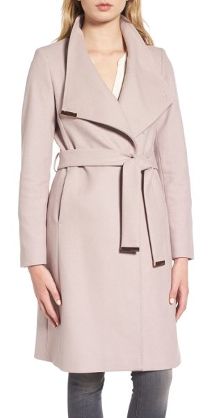 TED BAKER wool blend long wrap coat - Gleaming hardware polishes the elegant look of a long...