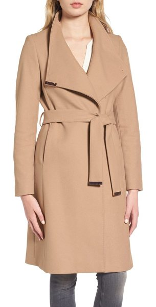 Ted Baker wool blend long wrap coat in beige - Gleaming hardware polishes the elegant look of a long...