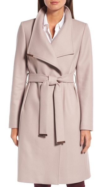 Ted Baker wool blend long wrap coat in dusky pink - Gleaming hardware polishes the elegant look of a long...