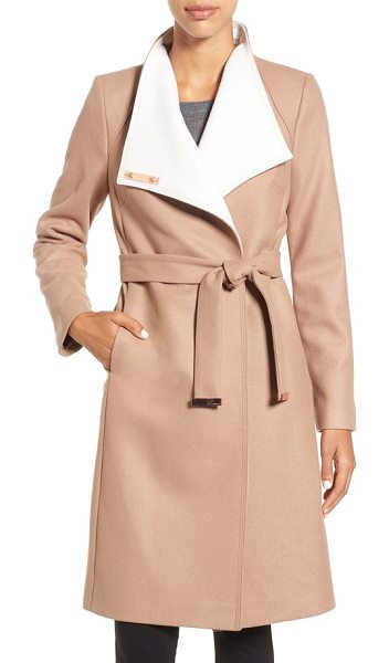 TED BAKER wrap coat in camel - A touch of cashmere enhances the cozy feel of an elegant...