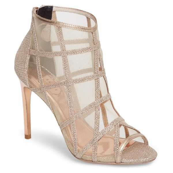 Ted Baker xstal mesh bootie in rose gold - A slim setback heel supports a lattice-overlaid mesh...