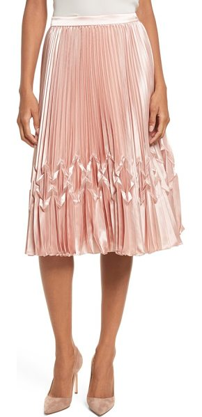 Ted Baker zigzag detail pleated midi skirt in rose gold - A section of origami-like folds within the satiny pleats...