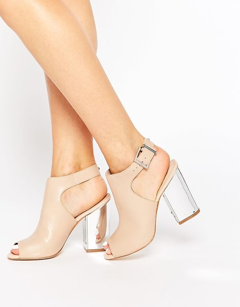 Ted Baker Montagny peeptoe block leather heeled sandals in tansilver - Shoes by Ted Baker, Leather-look upper, Pin buckle...