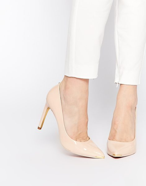 Ted Baker Neevo 4 Nude Patent Heeled Pumps in beige - Shoes by Ted Baker, Leather upper, Glossy patent finish,...