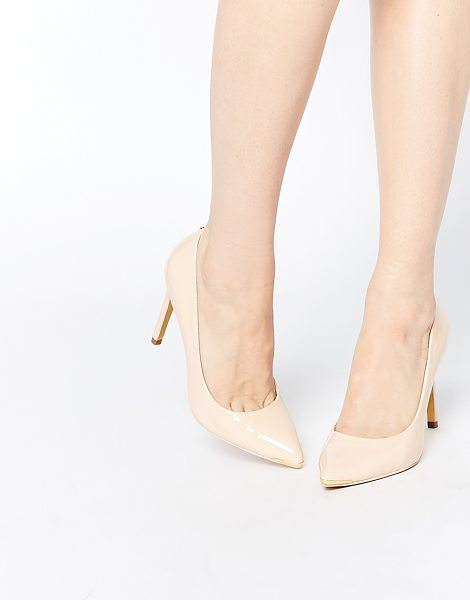 Ted Baker Neevo 4 Patent Heeled Pumps in beige - Heels by Ted Baker, Patent leather upper, Slip-on...