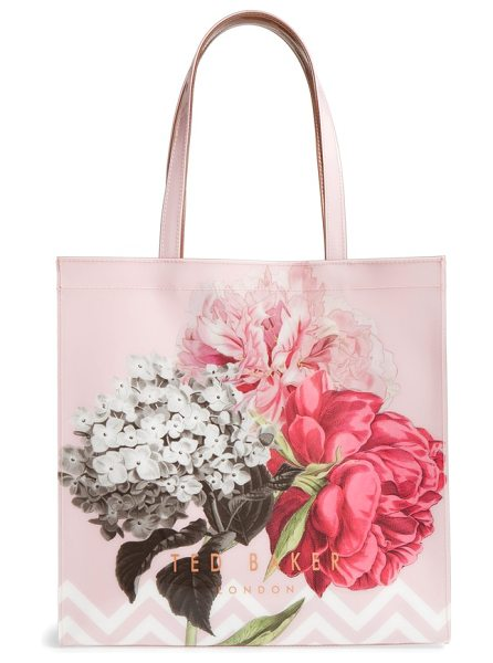 Ted Baker palace gardens large icon tote in dusky pink - With its gorgeous flower print and rose-goldtone side...