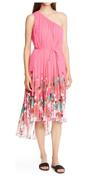 Ted Baker pinata floral pleated asymmetrical one shoulder dress in pink