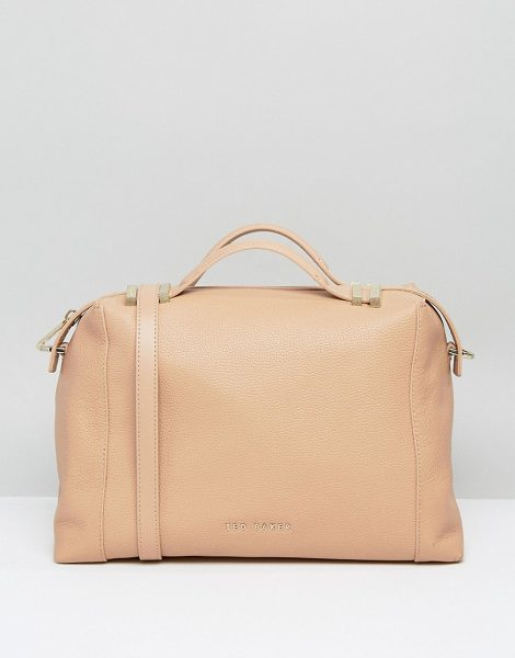 Ted Baker Pop Handle Tote Bag in tan - Cart by Ted Baker, Real leather outer, Fully-lined, Twin...