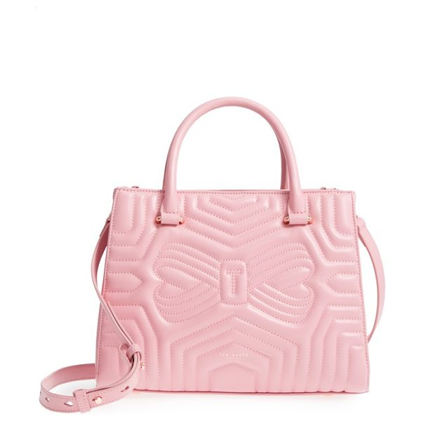Ted Baker quilted bow leather tote in pink - Matelasse stitching shapes a signature bow on a sleek...