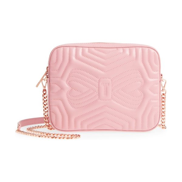 Ted Baker quilted leather camera bag in dusky pink - Meticulous matelasse stitching adds exquisite dimension...