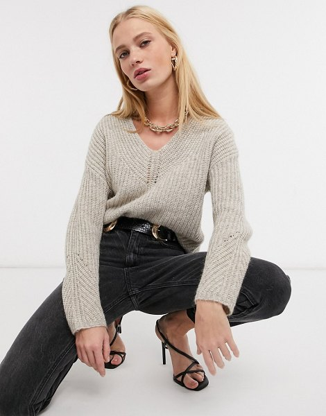 Ted Baker rieliaa v-neck sweater in camel-tan in tan