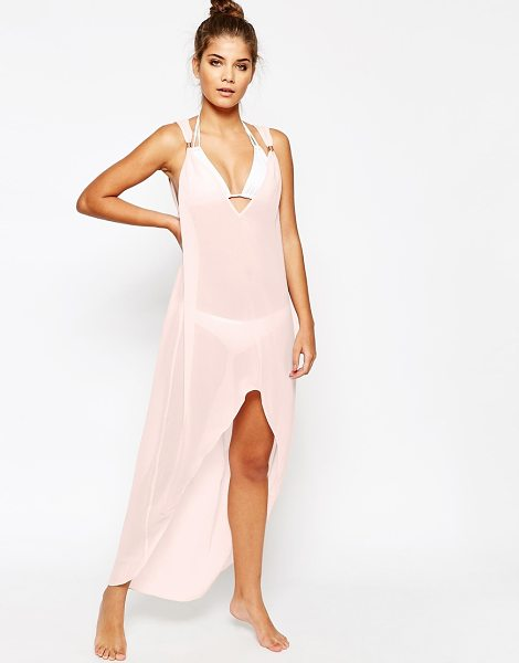 Ted Baker Rose beach cover-up in pink - Beach cover up by Ted Baker Semi-sheer chiffon Plunge...