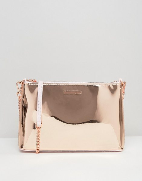 Ted Baker Rose Gold Cross Body Bag in gold - Cart by Ted Baker, Metallic leather outer, Contraast...