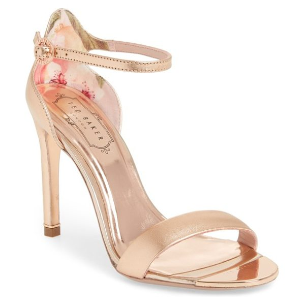 Ted Baker sharlot ankle strap sandal in rose gold leather - A slim toe strap accentuates the minimalist silhouette...