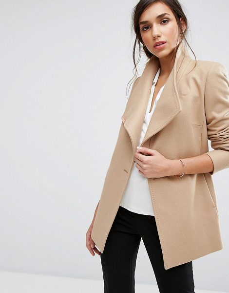 TED BAKER Short Wrap Coat in brown - Coat by Ted Baker, Wool-rich fabric, Wrap front, Button...
