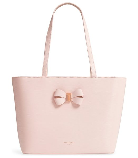 Ted Baker small bowmisa leather shopper & pouch in light pink - A prim bow adds signature gleam to a sleek,...