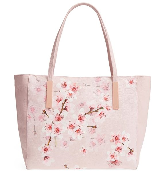 Ted Baker soft blossom leather shopper in light pink - Gorgeous blossoms accented with gleaming studs add to...
