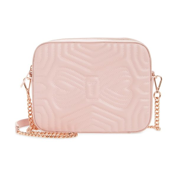 Ted Baker sunshine quilted leather camera crossbody bag in light pink