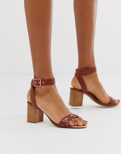 Ted Baker tan leather block heeled sandals with bow studding in tan