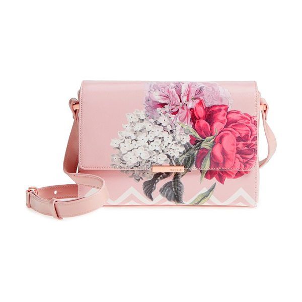 Ted Baker teda palace gardens faux leather crossbody bag in dusky pink - Gorgeous painterly blooms brighten a chic faux-leather...