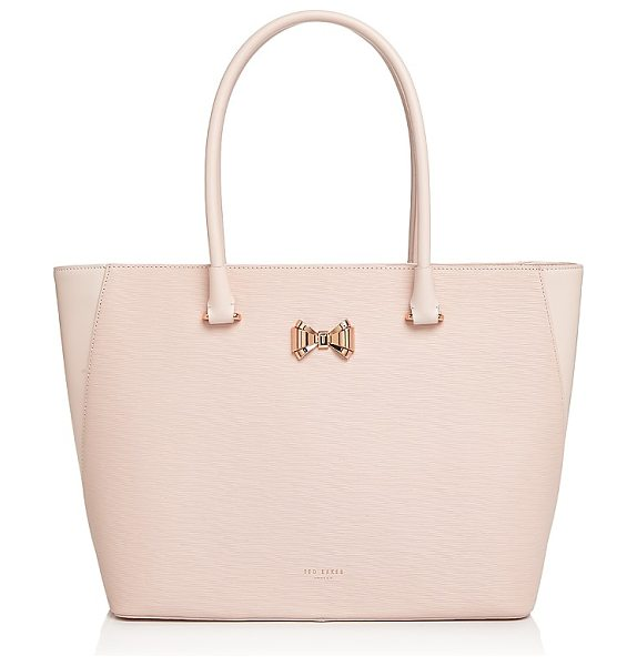 Ted Baker Tinsley Curved Bow Zip Large Leather Tote in baby pink/rose gold - Ted Baker Tinsley Curved Bow Zip Large Leather Tote-Handbags