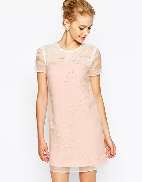 Ted Baker Tunic dress with embellished front in nude pink - Evening dress by Ted Baker Pure silk Embellished organza...