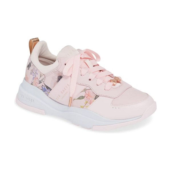 Ted Baker waverdi sneaker in pink - Painterly flowers add a breezy, sophisticated update to...