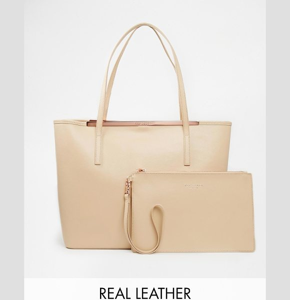 TED BAKER Zip purse crosshatch leather shopper with removable pouch - Cart by Ted Baker Textured leather fabric Twin grab...
