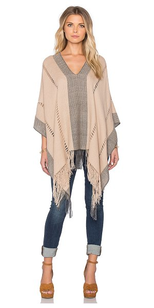 Tejido Honeycomb pierced poncho in tan - Cotton blend. Dry clean only. Fringe trim. TEJR-WO6....