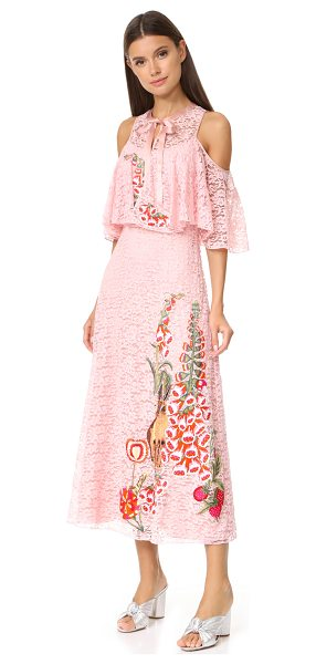 Temperley London farewell dress in peony - Vibrant embroidery adds a playful accent to this lace...