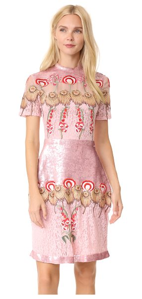 Temperley London farewell mini dress in peony mix - Sequined panels add bright detail to this striking...