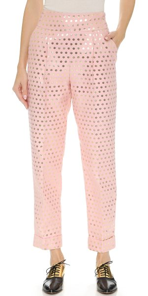 Temperley London Issac slim trousers in pink mix - Lamé polka dots add a playful touch to these high rise...