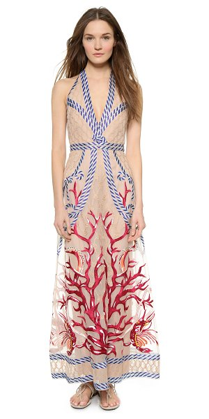 TEMPERLEY LONDON Long coral dress in coral mix - An elaborate, embroidered nautical motif brings a...