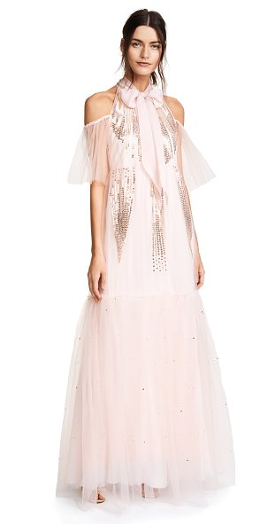 Temperley London mineral dress in shell - Fabric: Crepe Open shoulders Maxi dress cut Mock neck...