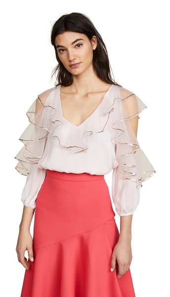 Temperley London mineral top in shell - Fabric: Crepe Pullover style Waist-length style V neck...