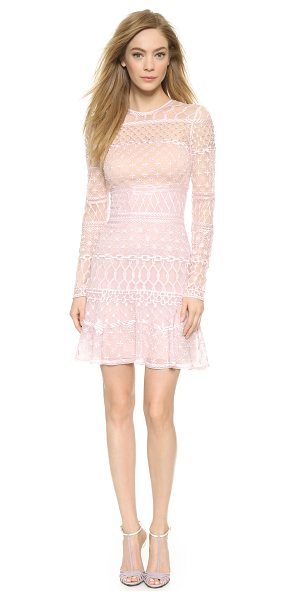 Temperley London Mini fishnet dress in pink mix - Elaborate embroidered patterns accent this airy organza...