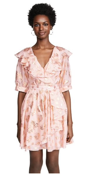 Temperley London riviera mini dress in powder - Fabric: Georgette Red & metallic threaded pattern...