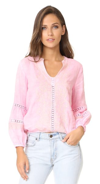 Temptation Positano embroidered blouse in rosa - Metallic embroidery brings soft shimmer to this breezy...