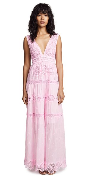 Temptation Positano maldive long v neck dress in pink - Fabric: Embroidered Crepe Scalloped hem Crocheted lace...