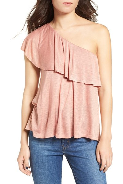 Ten Sixty Sherman one shoulder ruffle top in blush - A soft ruffle cascades from right to left across the top...