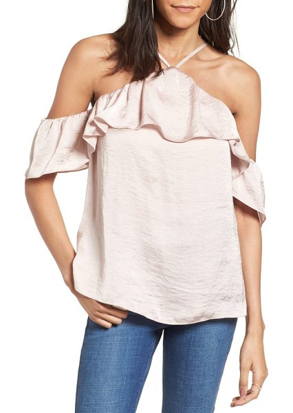Ten Sixty Sherman satin cold shoulder top in rose petal - An airy ruffle cascades from chest to shoulder, adding...