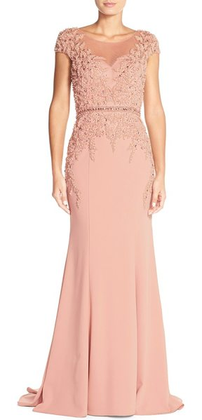 Terani Couture embellished crepe mermaid gown in blush - Pearly beading matches the fluid crepe of this...